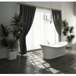 Badewanne aus Kunstharz mit Pop-up und Ablaufgarnitur/ Wellen Design/weiss glänzend